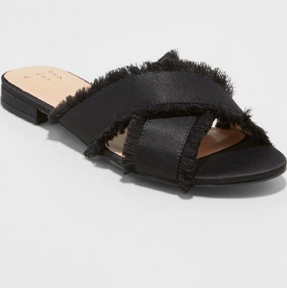 ce0f29b22f6 NWT A New Day Satin Fringe Slides Sandals size 9.5 NWT